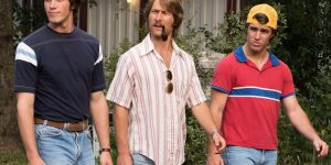 """""""EVERYBODY WANTS SOME!!"""": Blake Jenner plays Jake, Glen Powell plays Finnegan, Temple Baker plays Plummer and Forrest Vickery plays Coma. (Photo: Van Redin / Paramount Pictures)"""