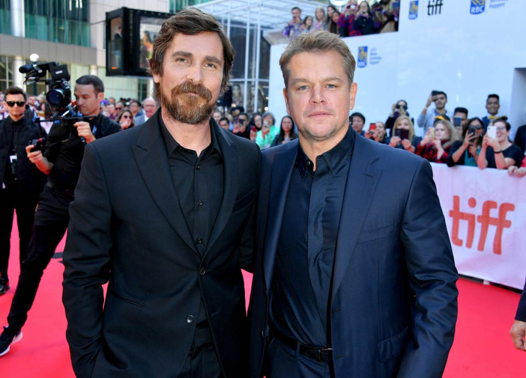 "TORONTO, ONTARIO - SEPTEMBER 09: (L-R) Matt Damon and Christian Bale attends the ""Ford v Ferrari"" premiere during the 2019 Toronto International Film Festival at Roy Thomson Hall on September 09, 2019 in Toronto, Canada. (Photo by George Pimentel/Getty Images)"