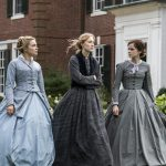 "This image released by Sony Pictures shows, from left, Florence Pugh, Saoirse Ronan and Emma Watson in a scene from ""Little Women."" On Monday, Jan. 13, Ronan was nominated for an Oscar for best actress for her role in the film. (Wilson Webb/Sony Pictures via AP)"